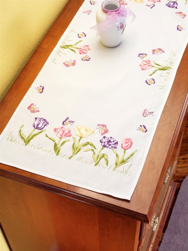 Janlynn Stamped Embroidery Kit, Tulip Garden Dresser Scarf