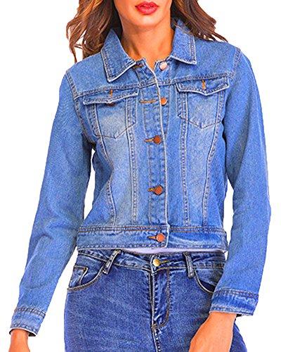 Casual Jeans Femme Longues Fit Veste Court Fonc Revers Slim pour Manches en Bleu w5II10qp
