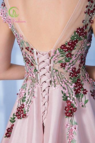 En 8 Mariée De Formelle De Sun Prom Satin Longue Rose Appliques Étage Soirée Goddess Luxe La Élégant Longueur Banquet 4 Parti Dentelle nbsp;Robe Robe qxzWHqvYng