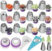 Boca de decoración rusa de 27 piezas Boca de decoración de hojas Bolsa de decoración de boca de una pieza para galletas...