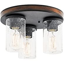 Kichler Lighting Barrington 11.5-in W Distressed Black and Wood Ceiling Flush Mount Light