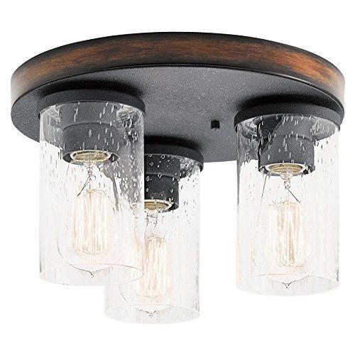 Kichler Lighting Flush (Kichler Lighting Barrington 11.5-in W Distressed Black and Wood Ceiling Flush Mount Light)