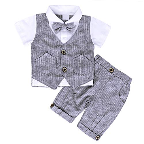 MetCuento Baby Bow Tie Vest Formal Wear Gentleman Wedding Suit Baby Boy Romper Onesie(6-12 Months)]()