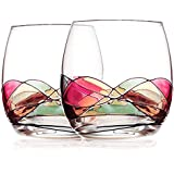 Stemless Wine Glasses,Bouquetier Stemless Hand Painted Wine Glass,Set Of 2,Holds up to 16 Ounce Wine Gifts for Mom Housewarming Wedding Women Men Sister Birthday Anniversary Best Friend