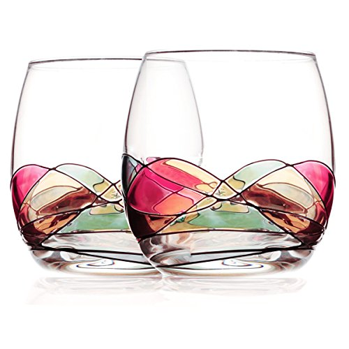 Stemless Wine Glasses,Bouquetier Stemless Hand Painted Wine Glass,Set Of 2,Holds up to 16 Ounce Wine Gifts for Mom Housewarming Wedding Women Men Sister Birthday Anniversary Best - Artwork Ornament Glass 2