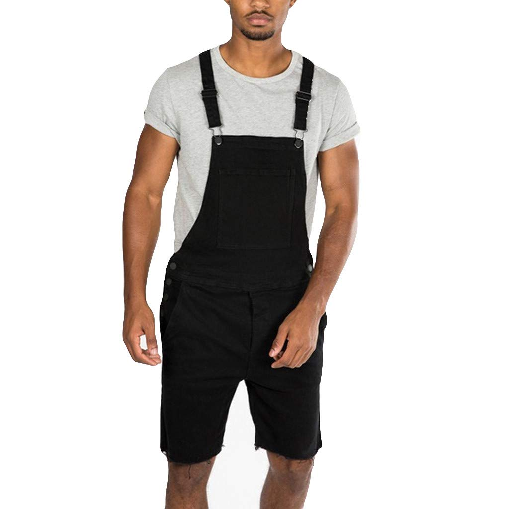 Overalls Shorts for Men,2019 New Summer Retro Denim Button Dungaree Jumpsuit Bib Short (L, Black 2)