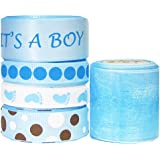 "Hipgirl 25 Yards It's a Boy Baby Shower 3/8"" - 1.5"" Grosgrain, Satin, Organza Sheer Fabric Ribbon Set, Foot Prints For Gift Package Wrapping, Hair Bow Clips & Accessories Making, Crafting, Sewing"