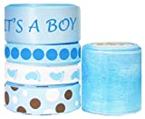 Hipgirl 25 Yards It's a Boy Baby Shower 3/8'' - 1.5'' Grosgrain, Satin, Organza Sheer Fabric Ribbon Set, Foot Prints For Gift Package Wrapping, Hair Bow Clips & Accessories Making, Crafting, Sewing
