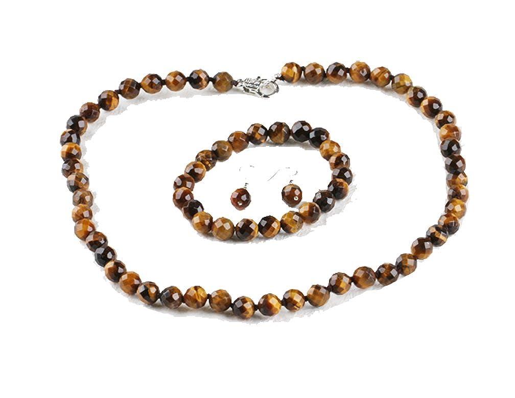 superbe 8mm oeil de tigre facettes collier de pierres précieuses perles, bracelet et boucles d'oreilles bijoux ensemble TreasureBay T300VNJ