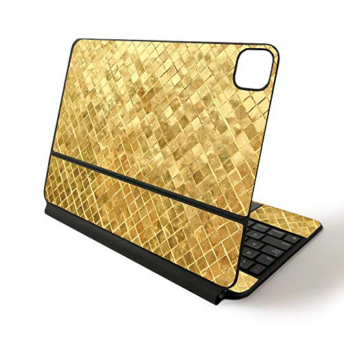 MightySkins Skin for Apple Magic Keyboard for iPad Pro 11-inch (2020) - Sushi | Protective, Durable, and Unique Vinyl Decal wrap Cover, Gold Tiles (APIPSK1120-Gold Tiles)