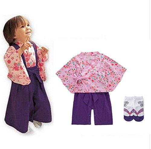SakuraZen New Year Sale Recommended Baby Toddler Celebration Costume for Girls&Boys 【Japanese Kimono】 Japanese Style Socks Included (24M, Pink&Purple) by SakuraZen