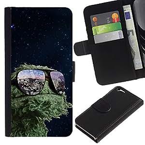 KLONGSHOP // Tirón de la caja Cartera de cuero con ranuras para tarjetas - Espacio divertido Muppet - Apple Iphone 6 //