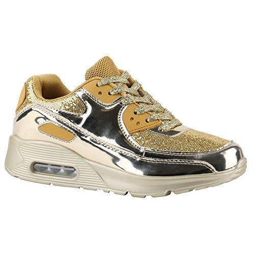 Stiefelparadies Trendige Unisex Laufschuhe Damen Herren Kinder Sportschuhe Metallic Glitzer Camouflage Sneaker Bunt Schnür Sport Turnschuhe Flandell Gold Gold