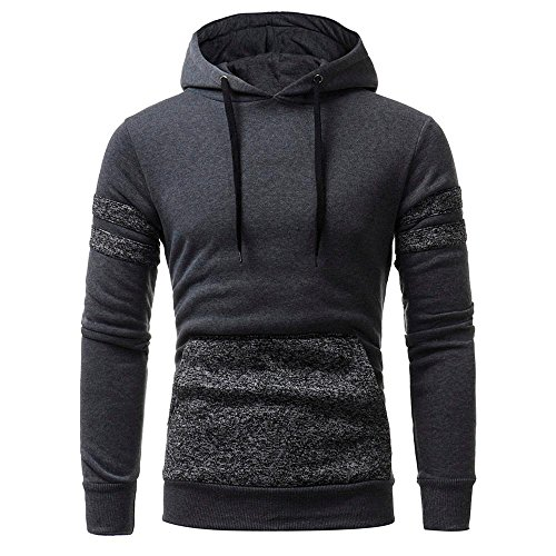 Sinzelimin Mens' Windproof Sport Long Sleeve Baseball Sweatshirt Tops Jacket with Hood Coat Outwear (Gray, XXL) by Sinzelimin