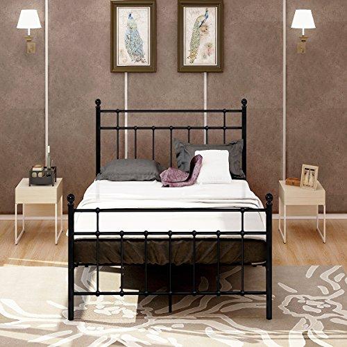 DUMEE Full Metal Bed Frame With Modern Style Headboard and Footboard Steel Slat Mattress Foundation (Slat Style Headboard)