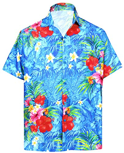LA LEELA Beach Shirt Short Sleeve Hawaiian Aloha Men's Shirt Men Blue_6034 L