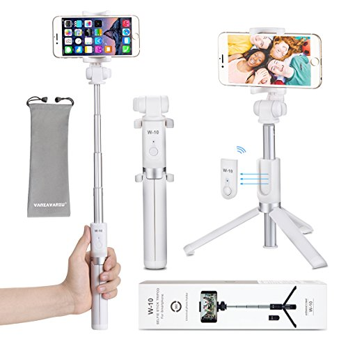 Selfie Stick Tripod with Bluetooth Remote - VANZAVANZU 2018 New 360° Rotation Phone Holder with Foldable Tripod for iPhone 6s Plus 7 Plus Samsung s7 Edge, Podcast, Live Broadcasting, Facetime (White)