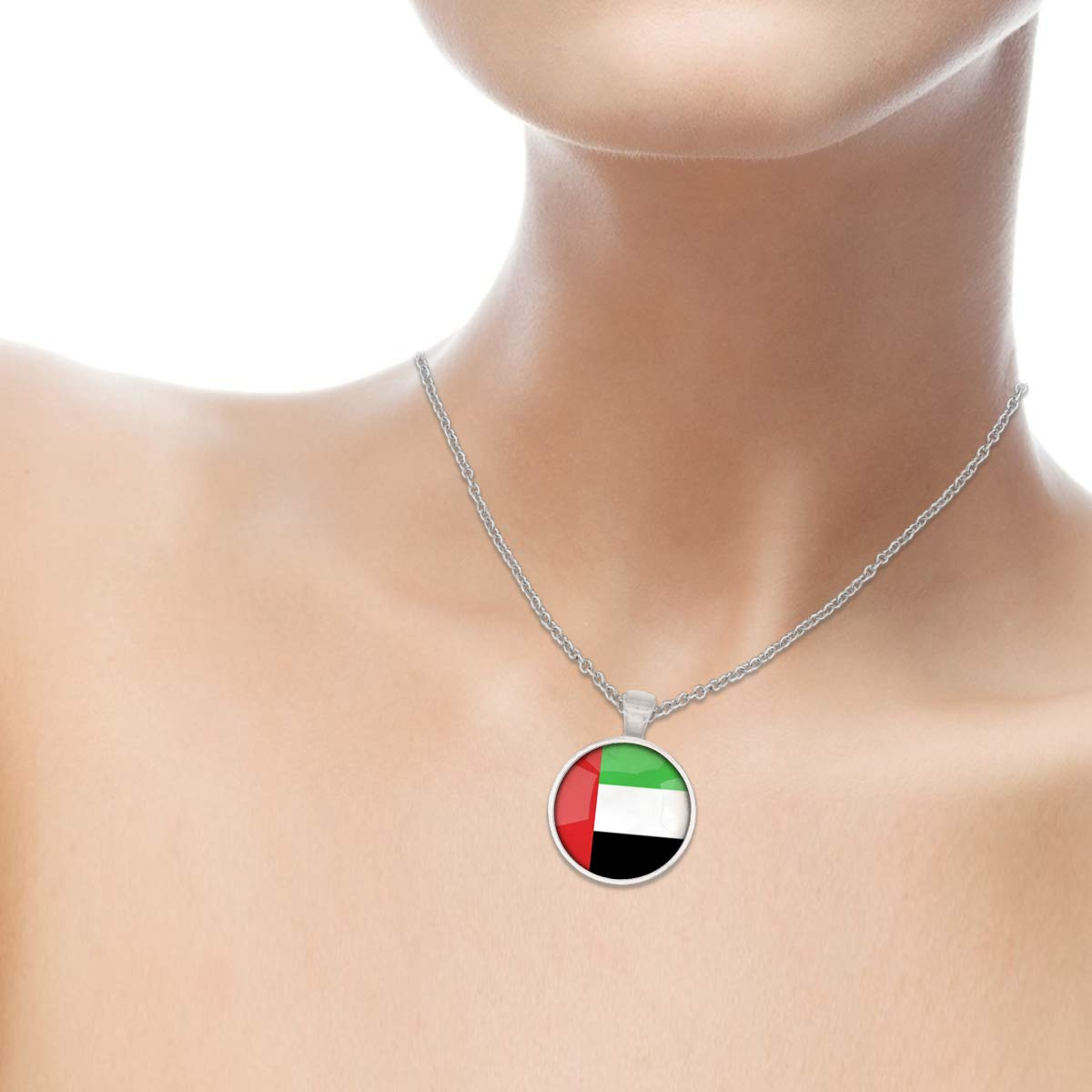 Family Decor The United Arab Emirates National Flag Pendant Necklace Cabochon Glass Vintage Bronze Chain Necklace Jewelry Handmade