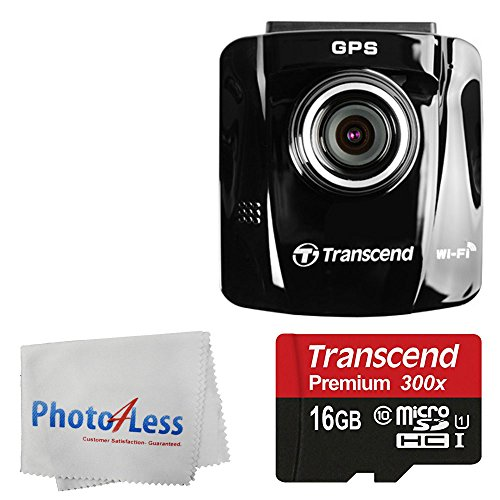 Transcend 16GB DrivePro 220 Car Video Recorder Wi-Fi Ready Dash Cam with GPS & Adhesive Mount + Transcend 16GB MicroSDHC Memory Card with Adapter 45 MB/s + Photo4Less Cleaning Cloth + Valued Bundle (Transcend Wifi Sd Card 16gb)
