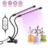 Auledio Grow Lights, [2018 Upgraded] IP66 Waterproof Dual Head Auto On/Off Timing 360° Flexible LED Plant Grow Lamp, 5 Adjustable Luminious Levels and 9 Switch Modes for Indoor Plants and Hydroponic