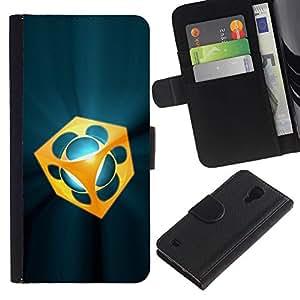 Billetera de Cuero Caso Titular de la tarjeta Carcasa Funda para Samsung Galaxy S4 IV I9500 / Abstract / STRONG