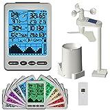 Sainlogic(R) Funk Wetterstation, Hygrometer mit drei Funk Sensoren und farbiger Hintergrundbeleuchtung, Funkthermometer zur Messung für Temperaturen, Luftfeuchtigkeit, Wind und Niederschlag