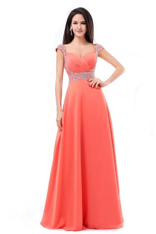 Balllily - Vestido largo de gasa para mujer, cuello en V, con ranura, para fiestas, salidas nocturnas, damas de honor, etc. rosa coral: Amazon.es: Ropa y ...
