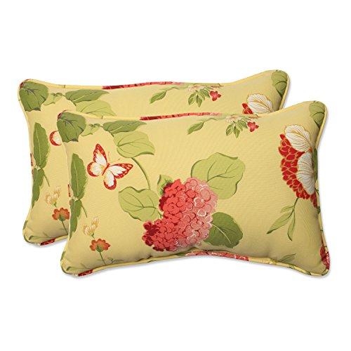 Risa Lemonade - Pillow Perfect Outdoor Risa Corded Rectangular Throw Pillow, Lemonade, Set of 2