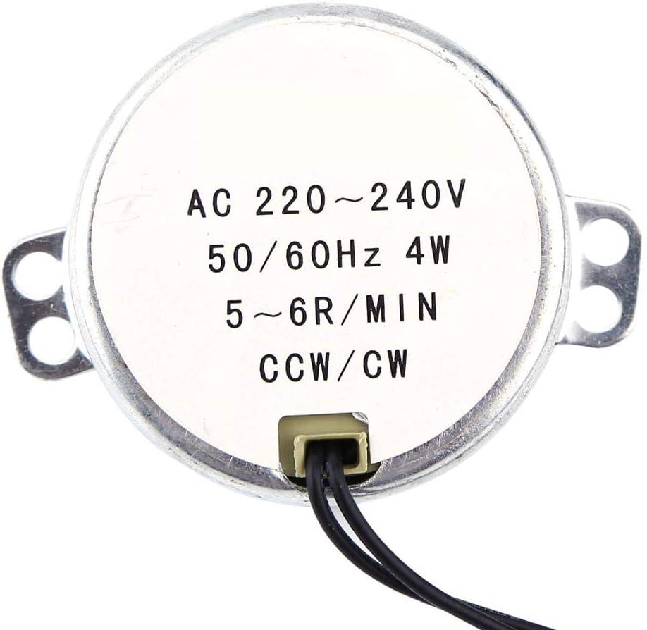 Sincronizador sincrónico de la placa giratoria Motor 50/60Hz Frecuencia AC 220~240V Motor con engranaje CW/CCW 4W(5-6RPM)