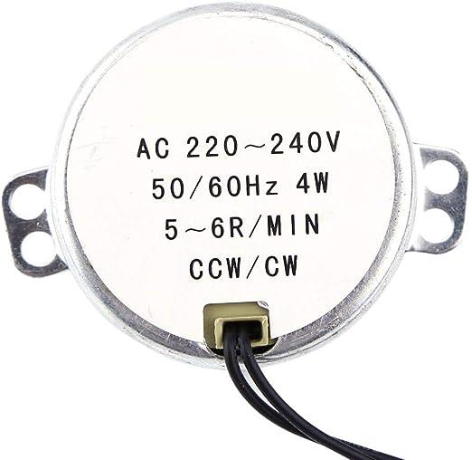 2.5-3RPM AC 220-240V 4W Moteurs Synchrones 50//60Hz CCW//CW Moteur /à Engrenages de Synchronisation