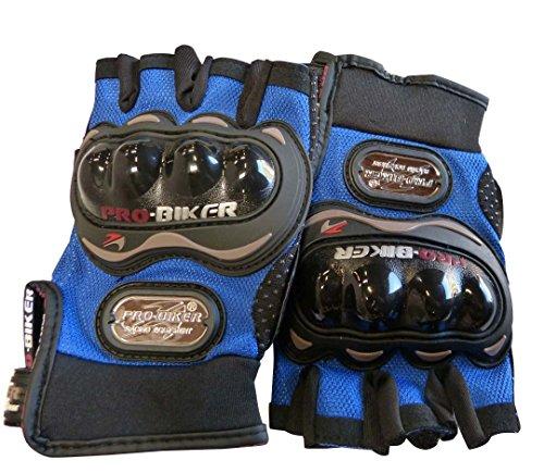Carbon Fiber Pro-Biker Bike Motorcycle Motorbike Racing Gloves Half (Extra Large, Blue)