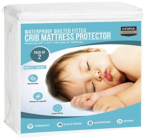 (Utopia Bedding Waterproof Crib Mattress Protector - Breathable Mattress Cover - Hypoallergenic Quilted Crib Fitted - Cradle Mattress Pad (Pack of 2))