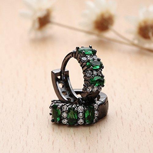 ACVIP Clip Boucles d'Oreilles Acier Inoxydable avec Zircone Cubique Vert pour Femme