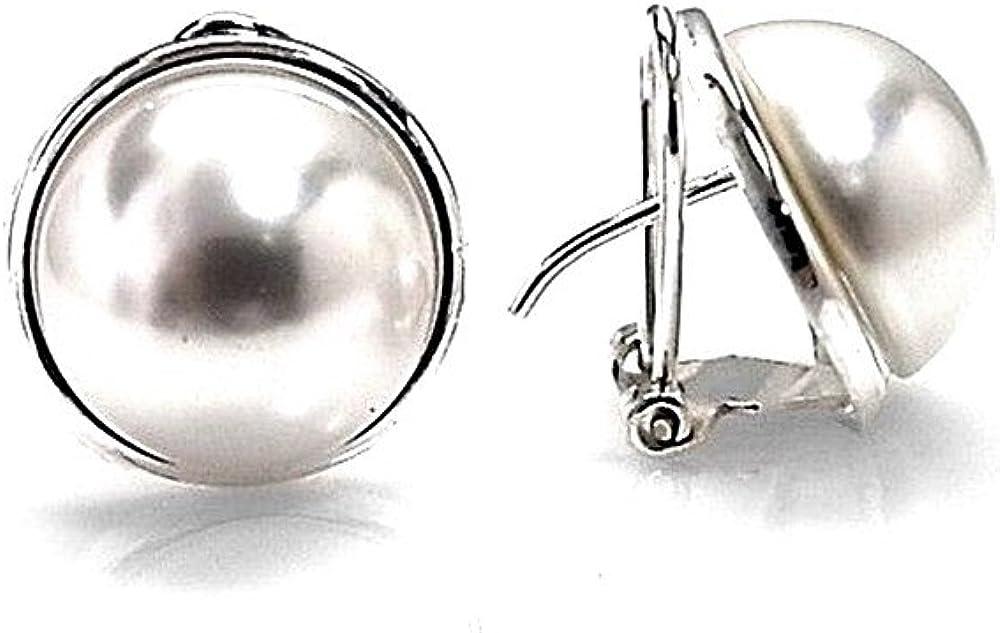 Pendientes plata Ley 925m media perla sintética 14mm. mujer bisel liso cierre omega
