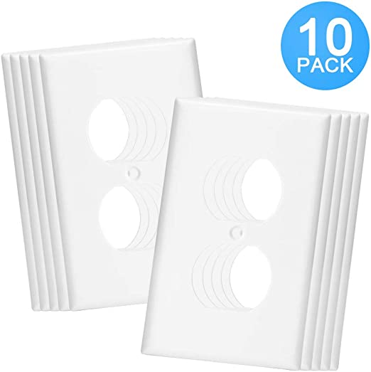 OUTLET WALL PLATE COVER Duplex Nylon 1-Gang Over-Size Unbreakable White 10 Pack