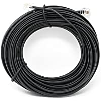 Black 50 FT. Phone Telephone Extension Cord Cable Line Wire - Phone Cable Line Cord - iSoHo Phone Accessories
