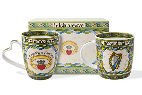 (Mug Set - Irish Claddagh and Harp With Gift Box)