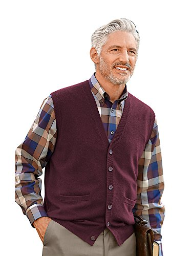 Button Front Sweater Vest (Paul Fredrick Men's Wool \ Cashmere Cardigan Vest Wine 2XL)