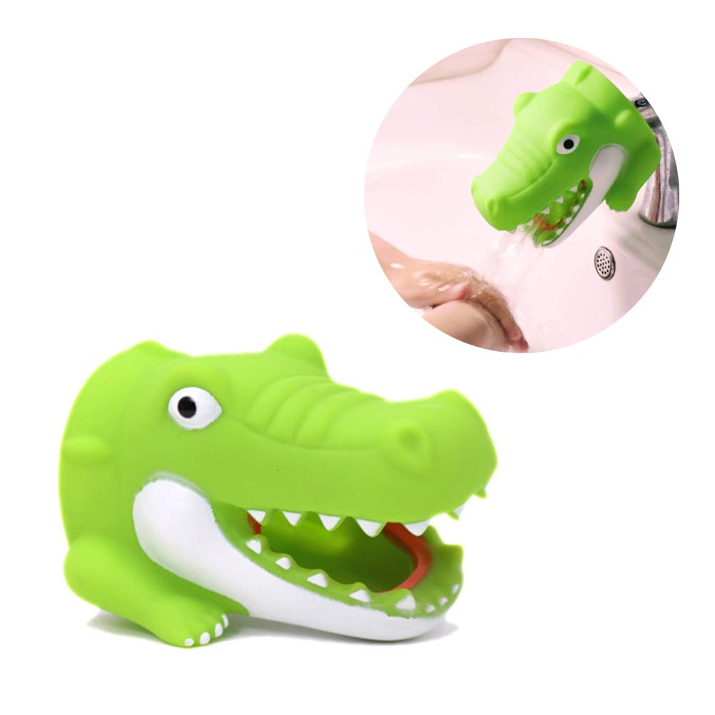 Odowalker Cartoon Faucet Extender Washbasin Bath Spout Cover Cute Animal Toy Faucet Cover Bath Safety Fun for Babies Toddlers Kids Children (Green Crocodile)