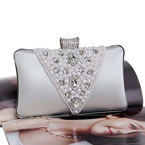 Soirée Strass Sacs Luxueux Perlé Mariage V Design pour Brodé KYS Le Femmes Main De silver Sacs De Embrayages À Sac v8Pz4C
