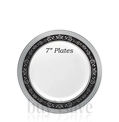 Previous · / Next  sc 1 st  Compostable Plates & buyNsave Black With Silver Heavyweight Plastic Elegant Disposable ...