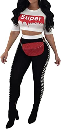 FSSE Womens Super Plaid Print Crop Top and Leggings Pants Outfits Tracksuits