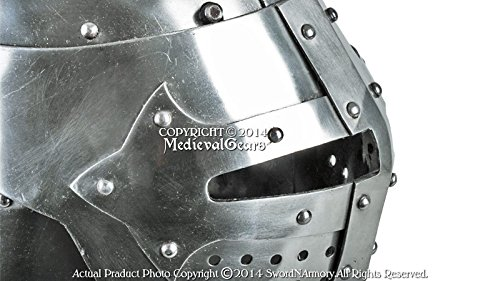 Functional 16G Steel Medieval Knight Pig Face Bascinet Helmet WMA SCA LARP Armor by Medieval Gears (Image #4)