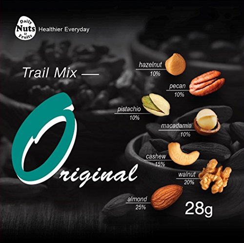 Daily Nuts Healthy Mix Original Value Packs (22 Packs). Almonds 25%, Walnuts 20%, Cashews 15%, Macadamias 10%, Hazelnuts 10%, Pecans 10%, Pistachios 10%. Non-GMO, Gluten-Free, No Salts, 100% Natural