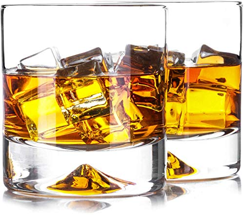 CIPARK 2 pcs Premium Whiskey Glasses-Lead Free Hand Blown Crystal-Thick Weighted Bottom-Seamless Design-Perfect for Scotch,Bourbon and Old Fashioned Cocktails
