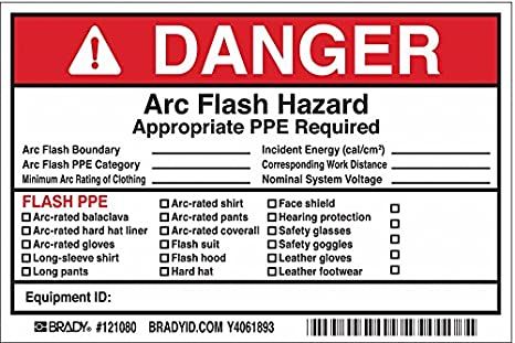 Etc. Brady 121080 Vinyl Write-On Arc Flash Labels 4 Height x 6 Width Danger Black//Red On White Legend Danger Arc Flash /& Shock Hazard Appropriate Ppe Required Flash Protection Boundary/_/_/_/_... 5 Labels per Package 4 Height x 6 Width