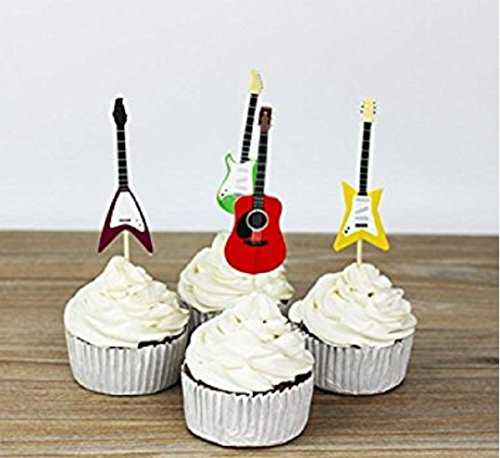 Marery Set of 24 Cake Cupcake Decorative Cupcake Topper for Kids Birthday Party Themed Party Baby Shower (Guitar)]()