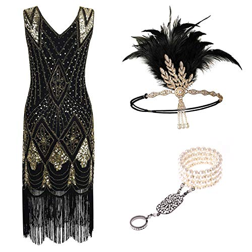 High end 1920s Flapper Dress Great Gatsby Party Evening Sequins Fringed Dresses Gown,A,XXL,
