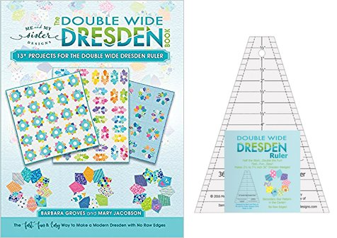 Double Wide Dresden Quilting Template Ruler and Book (with 13+ Projects) bundle from Me and My Sister Designs by Me and My Sister
