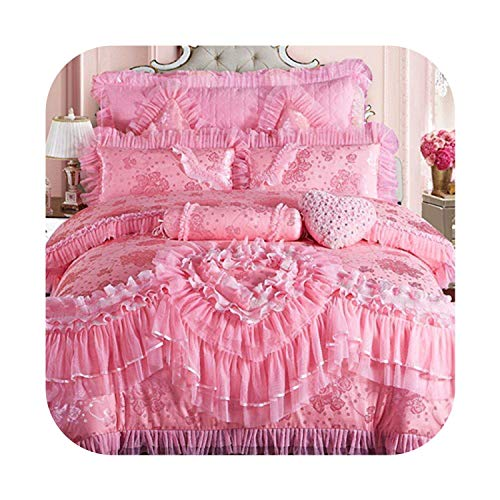 The Hot Rock Pink Lace Princess Wedding Luxury Bedding Set King Queen Size Silk Cotton Stain Bed Set Cover Bedspread Pillowcase,Color 1,King - Bedding 8pcs Queen